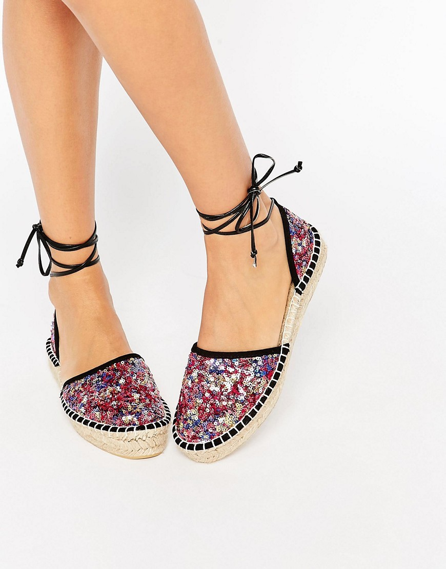 Joyful Tie Leg Espadrilles Multi Sequin - secondary colour: pink; predominant colour: black; occasions: casual, holiday; material: fabric; heel height: flat; ankle detail: ankle tie; toe: round toe; finish: plain; pattern: patterned/print; style: espadrilles; multicoloured: multicoloured; season: s/s 2016; trends: shiny surfaces; wardrobe: highlight