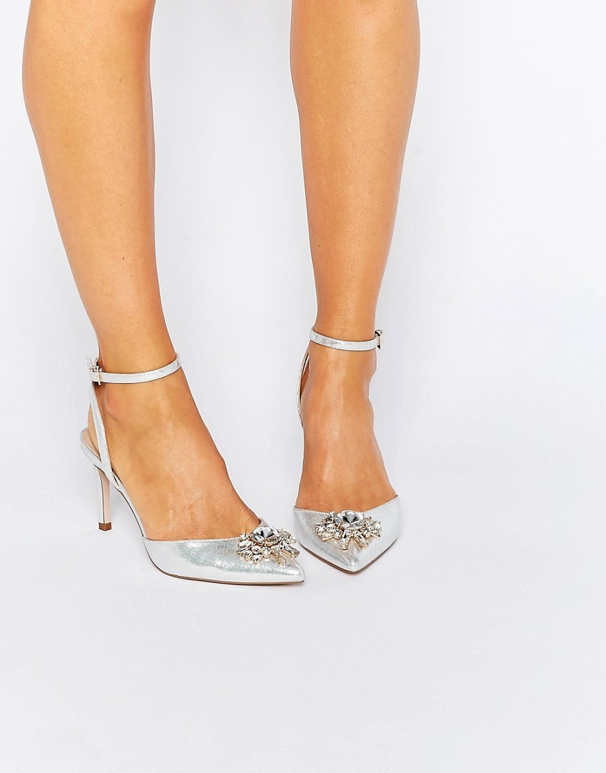 Society Wide Fit Embellished Heels Silver - predominant colour: silver; occasions: evening, occasion; material: faux leather; heel height: mid; embellishment: crystals/glass; ankle detail: ankle strap; heel: stiletto; toe: pointed toe; style: courts; finish: metallic; pattern: plain; season: s/s 2016; wardrobe: event