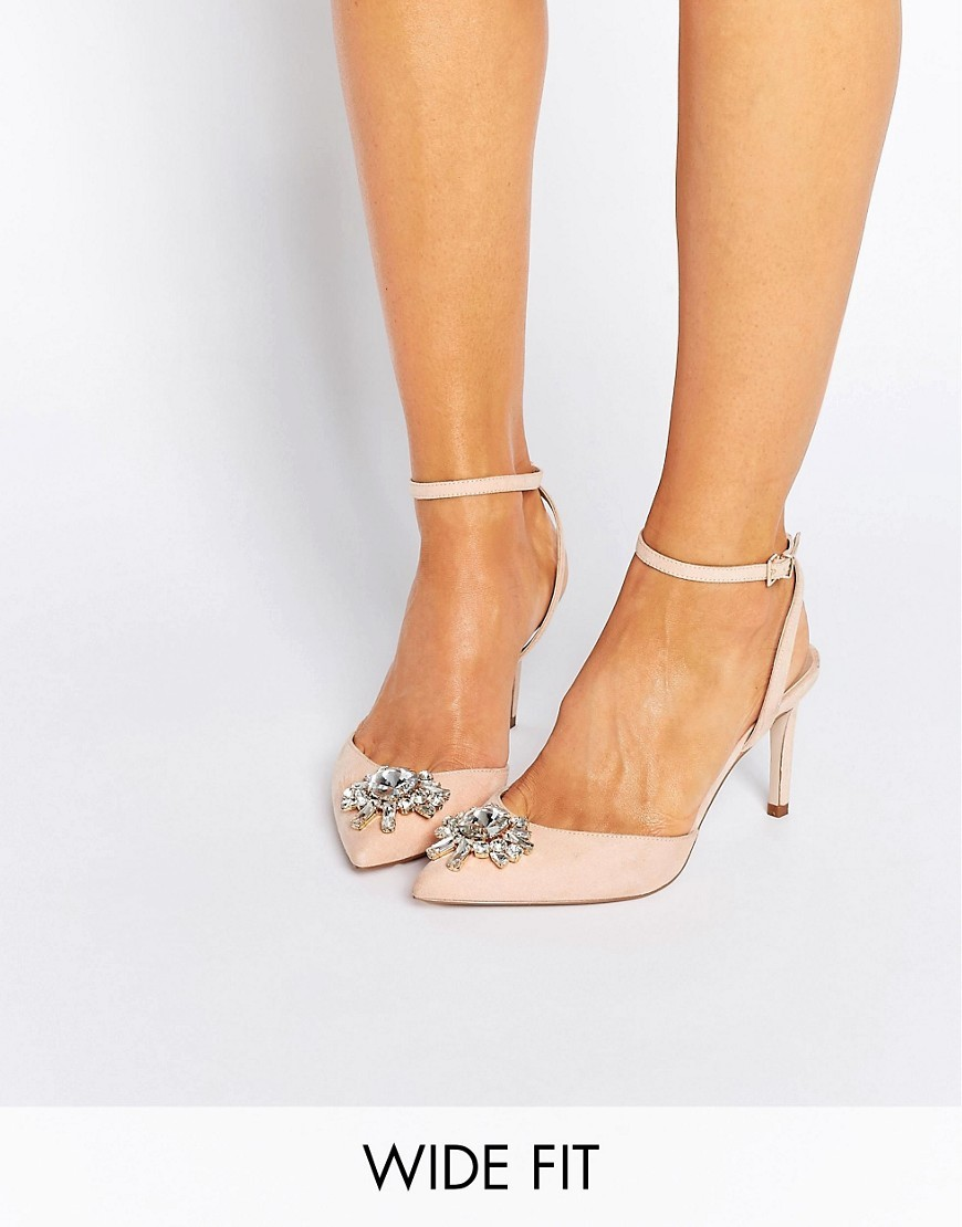 Society Wide Fit Embellished Heels Apricot - predominant colour: blush; occasions: evening, occasion; material: faux leather; heel height: high; embellishment: crystals/glass; ankle detail: ankle strap; heel: stiletto; toe: pointed toe; style: courts; finish: plain; pattern: plain; secondary colour: clear; season: s/s 2016; wardrobe: event