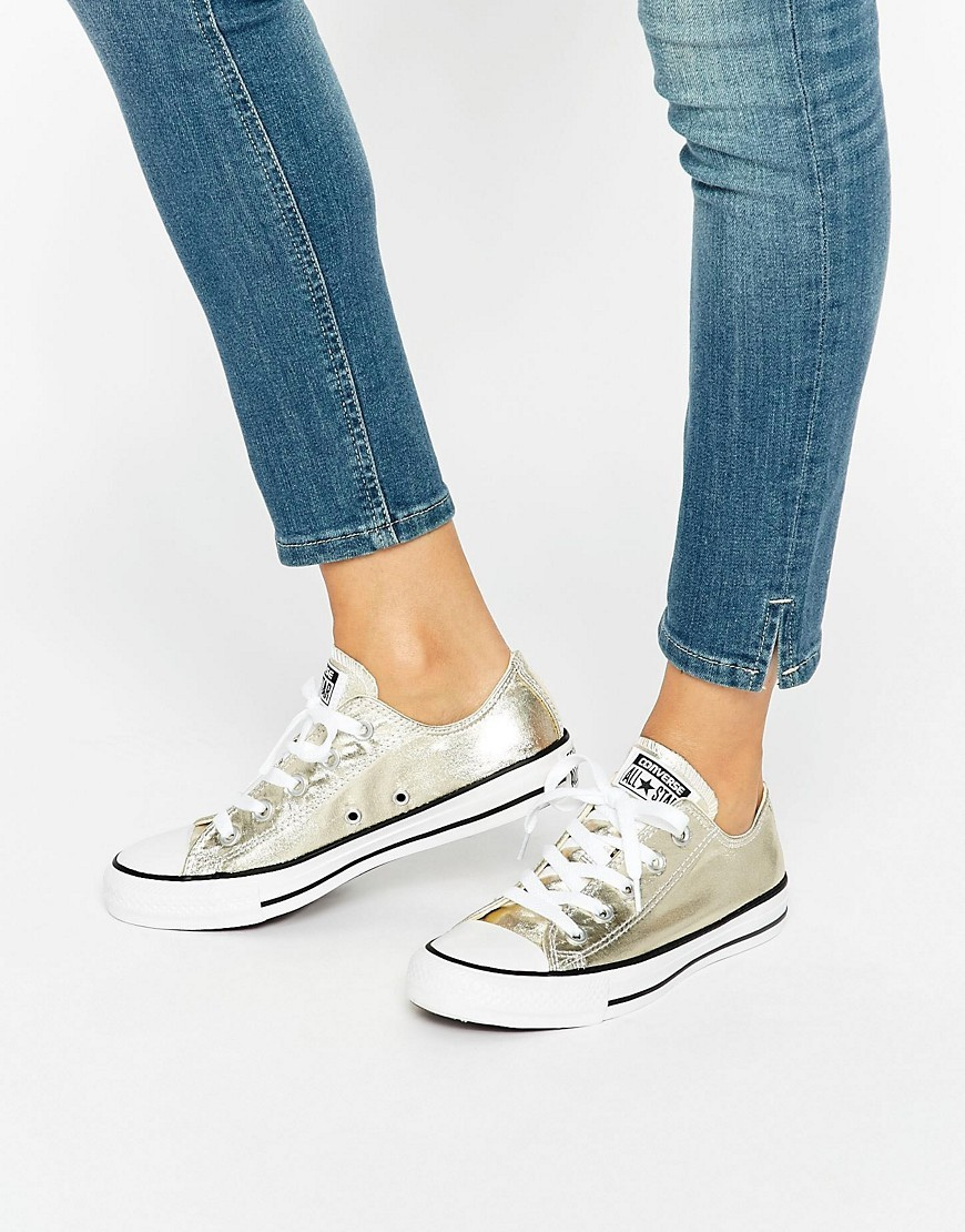 Light Gold Metallic Chuck Taylor All Star Ox Gold - predominant colour: gold; occasions: casual; material: fabric; heel height: flat; toe: round toe; style: trainers; finish: plain; pattern: plain; season: s/s 2016; wardrobe: basic