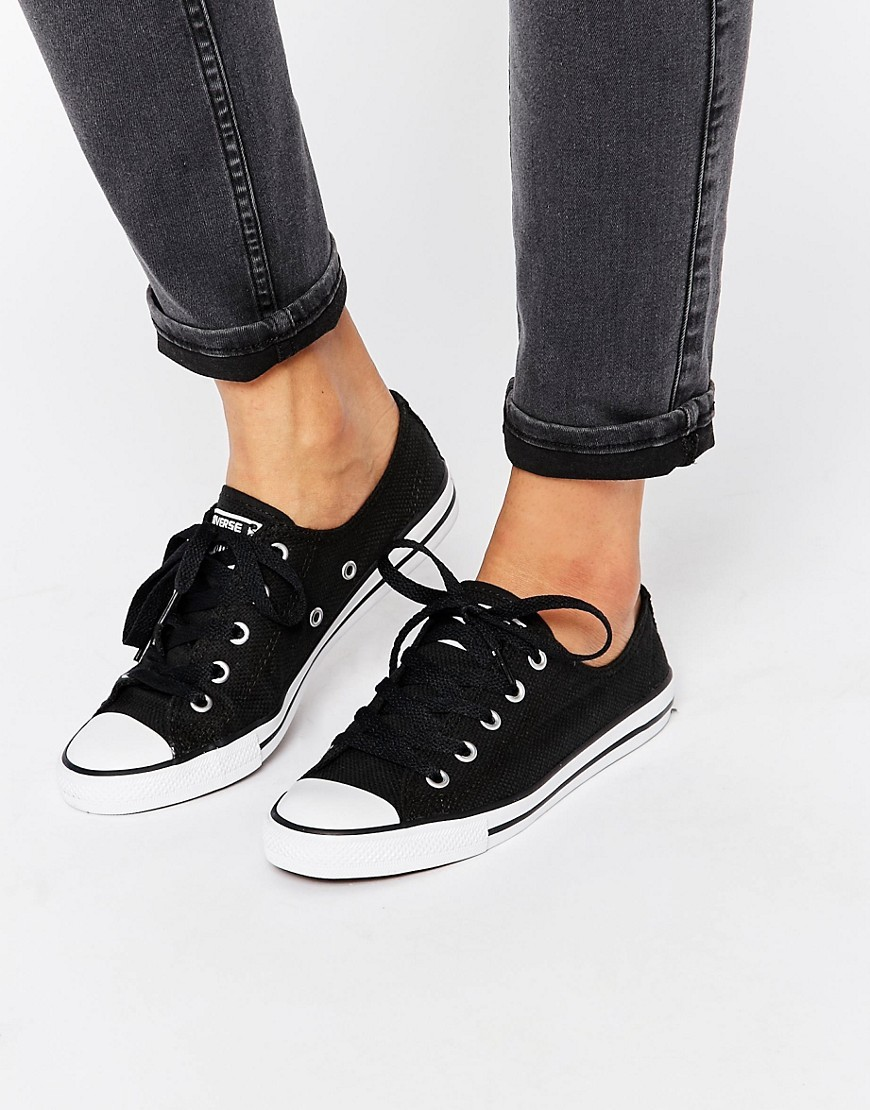 All Star Dainty Black & White Plimsoll Trainers Black - secondary colour: white; predominant colour: black; occasions: casual; material: fabric; heel height: flat; toe: round toe; style: trainers; finish: plain; pattern: plain; season: s/s 2016; wardrobe: basic