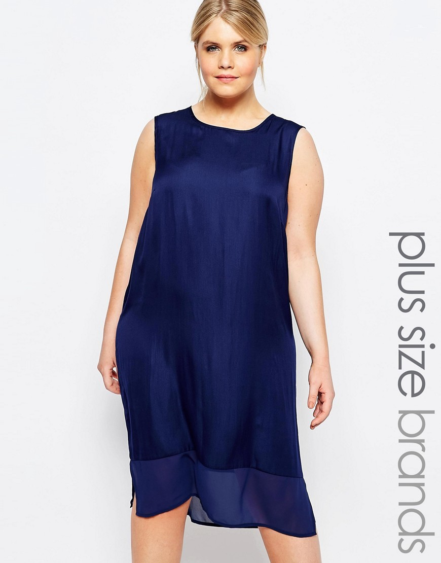 Sleeveless Tunic Dress Navy - style: shift; length: below the knee; sleeve style: sleeveless; pattern: polka dot; predominant colour: navy; occasions: evening; fit: body skimming; fibres: polyester/polyamide - 100%; neckline: crew; sleeve length: sleeveless; pattern type: fabric; texture group: other - light to midweight; season: s/s 2016; wardrobe: event