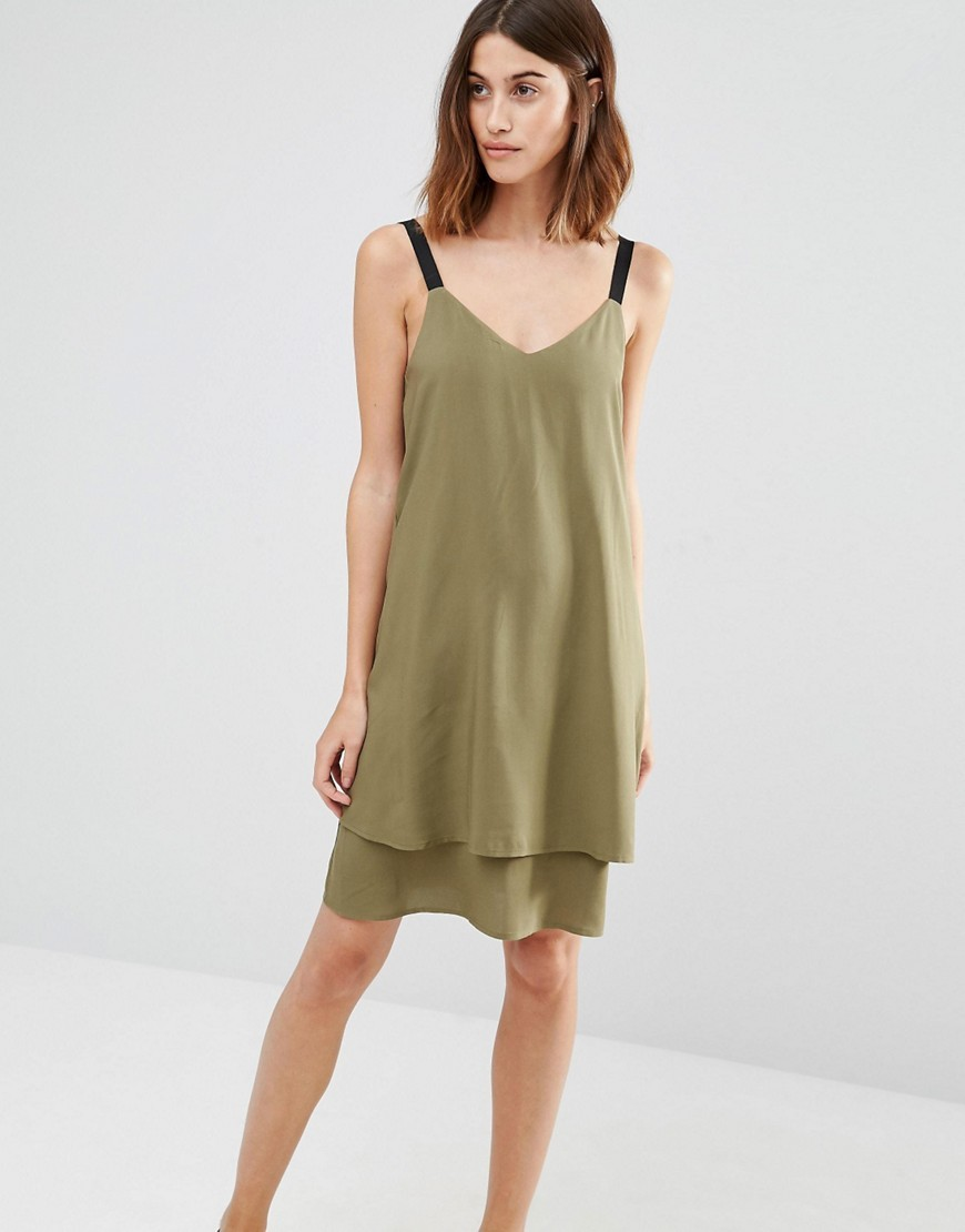 Double Layer Cami Dress Khaki - neckline: low v-neck; pattern: plain; sleeve style: sleeveless; predominant colour: khaki; secondary colour: black; occasions: evening; length: on the knee; fit: soft a-line; style: slip dress; fibres: polyester/polyamide - 100%; sleeve length: sleeveless; texture group: crepes; pattern type: fabric; season: s/s 2016; wardrobe: event