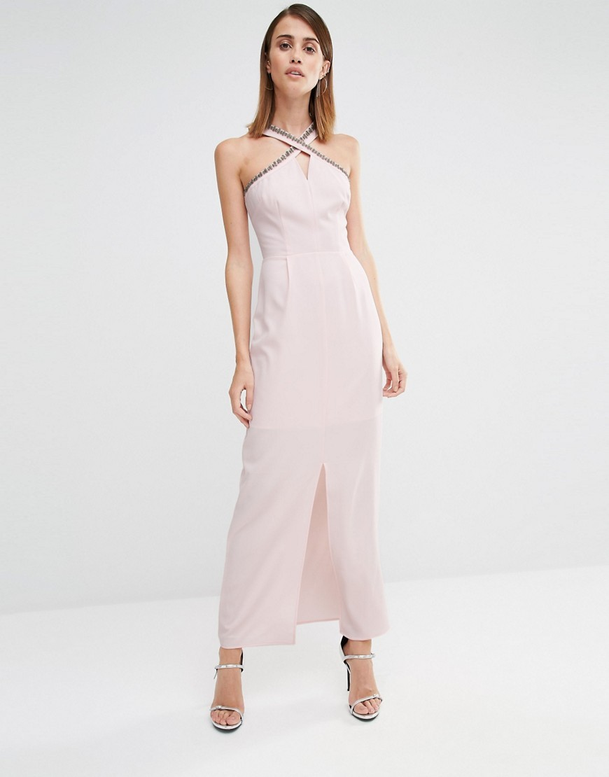 Embellished Halter Neck Maxi Dress Pink - neckline: v-neck; pattern: plain; sleeve style: sleeveless; style: maxi dress; length: ankle length; predominant colour: blush; fit: body skimming; fibres: polyester/polyamide - stretch; occasions: occasion; sleeve length: sleeveless; pattern type: fabric; texture group: other - light to midweight; season: s/s 2016