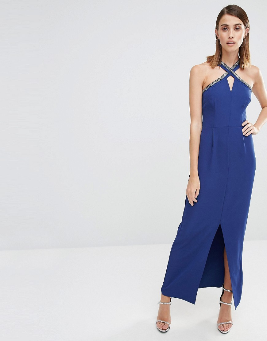 Embellished Halter Neck Maxi Dress Navy - fit: tight; pattern: plain; sleeve style: sleeveless; style: maxi dress; length: ankle length; predominant colour: royal blue; fibres: polyester/polyamide - stretch; occasions: occasion; sleeve length: sleeveless; pattern type: fabric; texture group: jersey - stretchy/drapey; season: s/s 2016; neckline: high halter neck; wardrobe: event