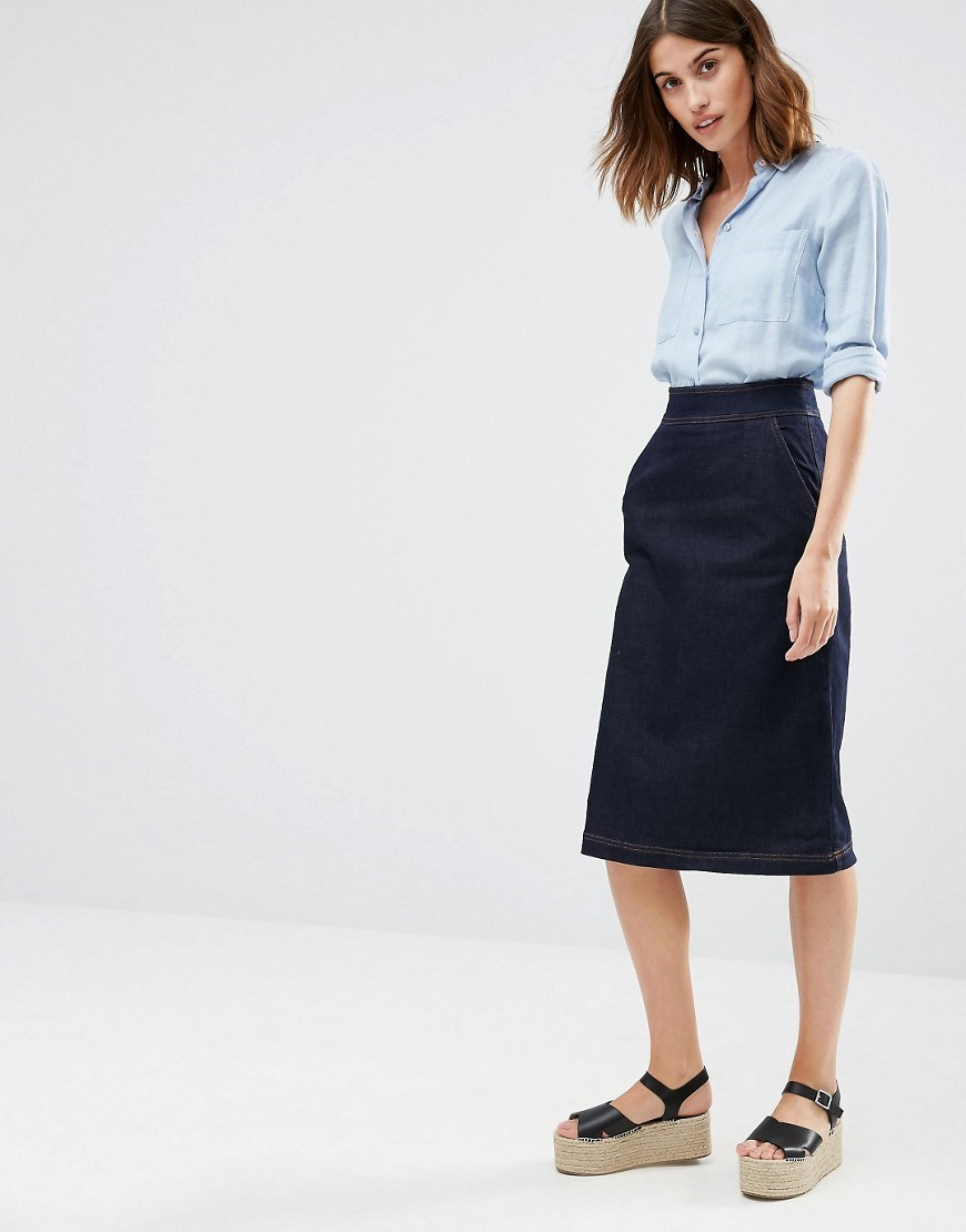 Denim Midi Skirt Indigo - length: below the knee; pattern: plain; style: pencil; fit: body skimming; waist: high rise; predominant colour: navy; occasions: casual, creative work; fibres: cotton - stretch; texture group: denim; pattern type: fabric; season: s/s 2016; wardrobe: basic