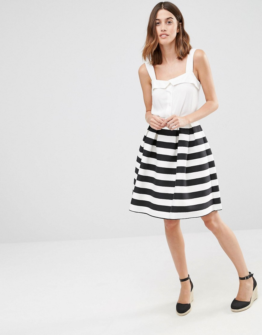 Premium Stripe Prom Skirt Black And White - style: full/prom skirt; fit: loose/voluminous; waist: high rise; predominant colour: white; secondary colour: black; length: just above the knee; fibres: cotton - mix; pattern type: fabric; texture group: other - light to midweight; occasions: creative work; pattern size: standard (bottom); pattern: horizontal stripes (bottom); season: s/s 2016; wardrobe: highlight