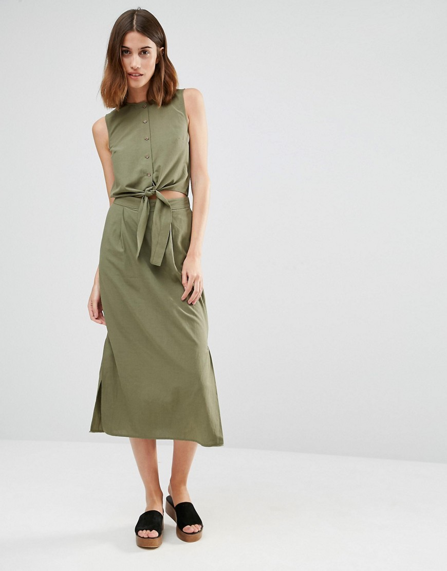 Tie Front Midi Dress Khaki - style: shift; length: below the knee; pattern: plain; sleeve style: sleeveless; predominant colour: khaki; occasions: casual; fit: body skimming; fibres: cotton - 100%; neckline: crew; waist detail: cut out detail; sleeve length: sleeveless; texture group: cotton feel fabrics; pattern type: fabric; season: s/s 2016; wardrobe: highlight
