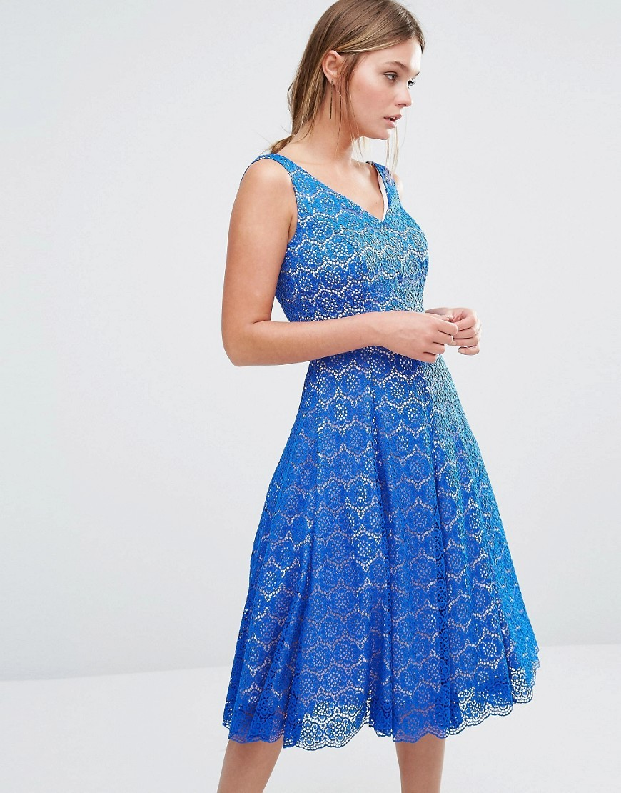 Azaela Fit And Flare Dress Cobalt - length: below the knee; neckline: low v-neck; sleeve style: sleeveless; style: prom dress; predominant colour: diva blue; fit: fitted at waist & bust; fibres: polyester/polyamide - 100%; occasions: occasion; sleeve length: sleeveless; texture group: lace; pattern type: fabric; pattern: patterned/print; season: s/s 2016; wardrobe: event