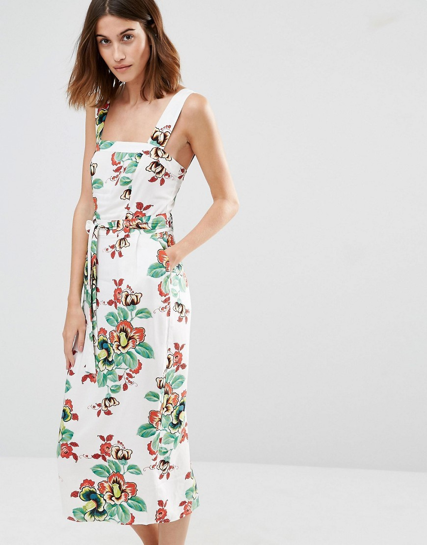 Floral Tie Waist Midi Dress Cream Print - style: shift; length: below the knee; sleeve style: sleeveless; back detail: low cut/open back; predominant colour: ivory/cream; secondary colour: emerald green; occasions: casual; fit: body skimming; fibres: viscose/rayon - 100%; sleeve length: sleeveless; neckline: medium square neck; pattern type: fabric; pattern size: standard; pattern: florals; texture group: other - light to midweight; multicoloured: multicoloured; season: s/s 2016; wardrobe: highlight
