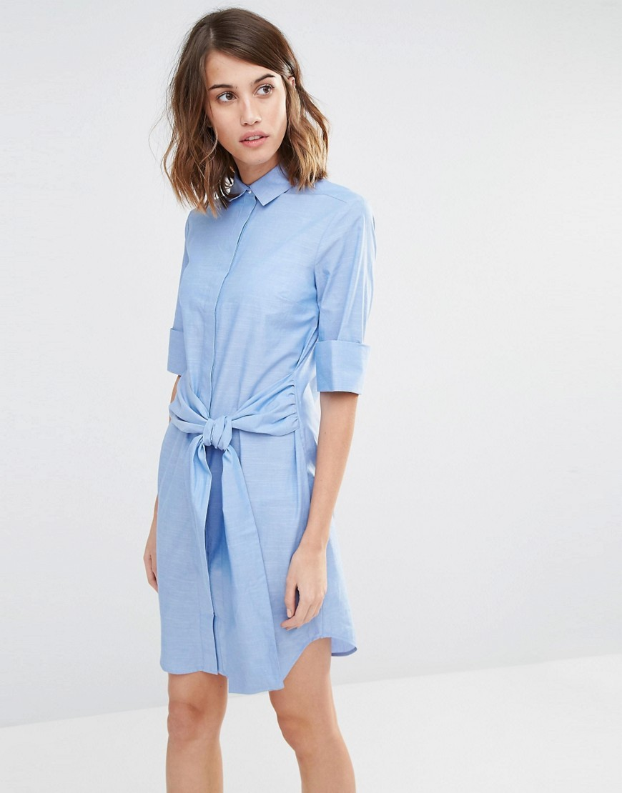 Clean Cotton Tie Front Shirt Dress Blue - style: shirt; neckline: shirt collar/peter pan/zip with opening; pattern: plain; waist detail: belted waist/tie at waist/drawstring; predominant colour: pale blue; occasions: casual; length: just above the knee; fit: body skimming; fibres: cotton - 100%; sleeve length: 3/4 length; sleeve style: standard; texture group: cotton feel fabrics; pattern type: fabric; season: s/s 2016; wardrobe: highlight