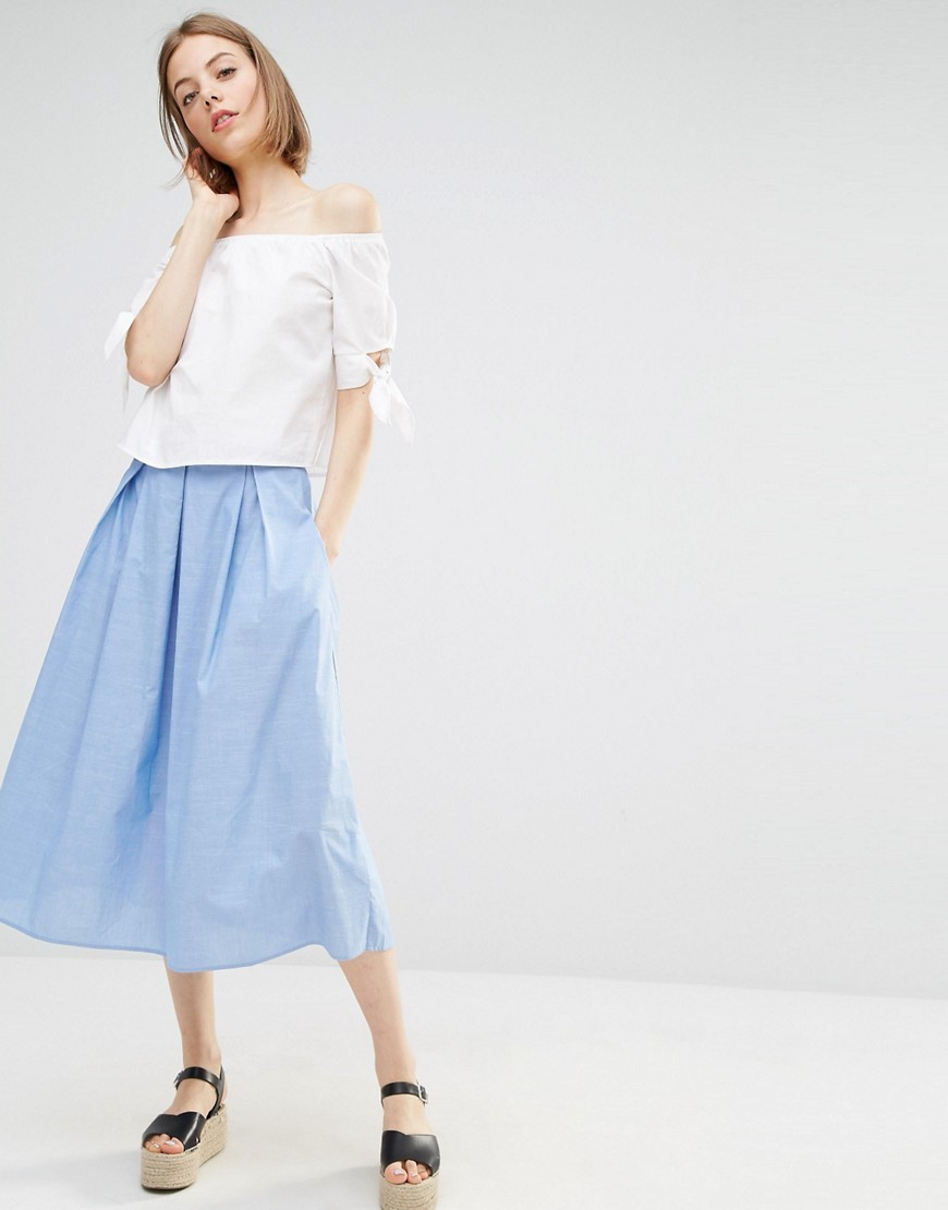 Chambray Full Skirt Blue - length: calf length; pattern: plain; style: full/prom skirt; fit: loose/voluminous; waist: mid/regular rise; predominant colour: pale blue; occasions: casual; fibres: cotton - 100%; texture group: cotton feel fabrics; pattern type: fabric; season: s/s 2016; wardrobe: highlight