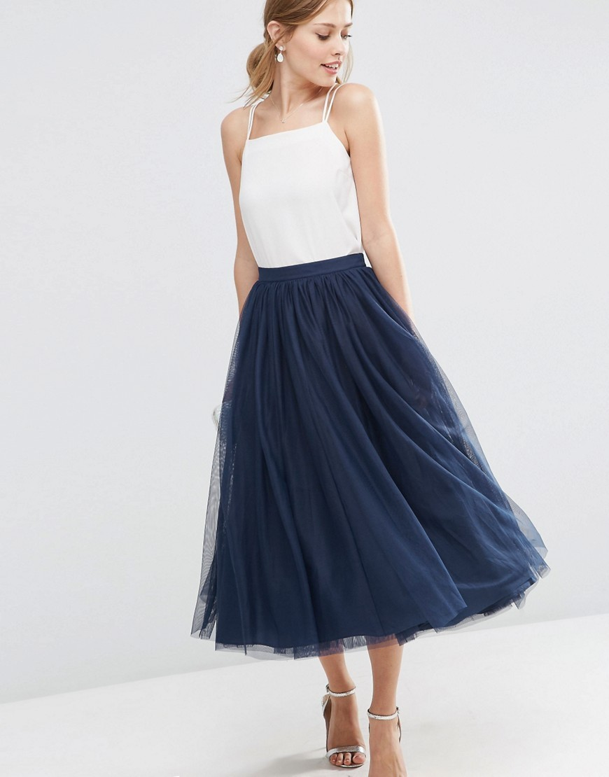 Tulle Prom Skirt With Multi Layers Navy - length: calf length; pattern: plain; style: full/prom skirt; fit: loose/voluminous; waist: mid/regular rise; predominant colour: navy; occasions: evening; fibres: polyester/polyamide - 100%; pattern type: fabric; texture group: net/tulle; season: s/s 2016; wardrobe: event