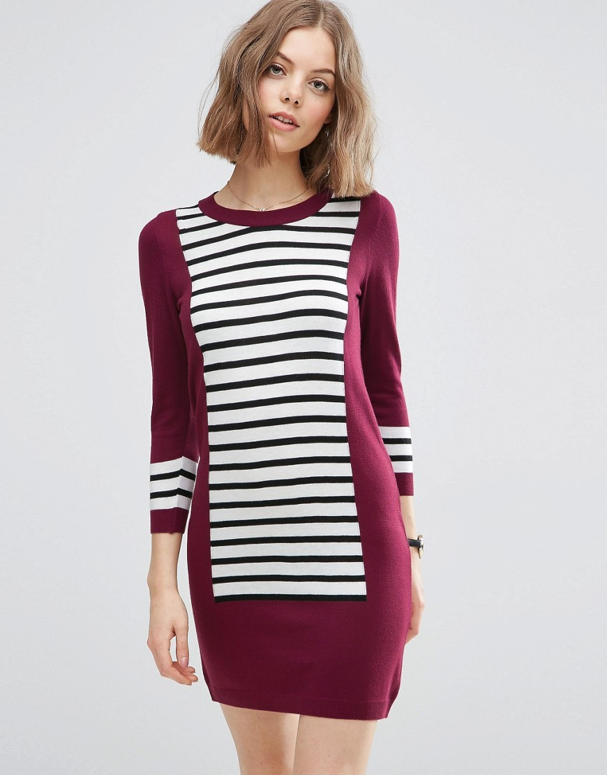 Dress In Knit With Blocking Multi - style: jumper dress; pattern: horizontal stripes; secondary colour: white; predominant colour: burgundy; occasions: casual; length: just above the knee; fit: body skimming; fibres: acrylic - 100%; neckline: crew; sleeve length: 3/4 length; sleeve style: standard; texture group: knits/crochet; pattern type: fabric; multicoloured: multicoloured; season: s/s 2016; wardrobe: highlight