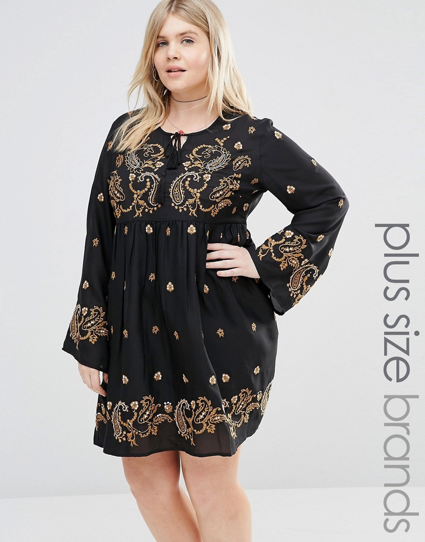 Long Sleeve Skater Dress With Paisley Embroidery Black - style: empire line; fit: empire; secondary colour: gold; predominant colour: black; occasions: casual; length: just above the knee; fibres: polyester/polyamide - 100%; neckline: crew; sleeve length: long sleeve; sleeve style: standard; pattern type: fabric; pattern: patterned/print; texture group: woven light midweight; embellishment: embroidered; multicoloured: multicoloured; season: s/s 2016; wardrobe: highlight