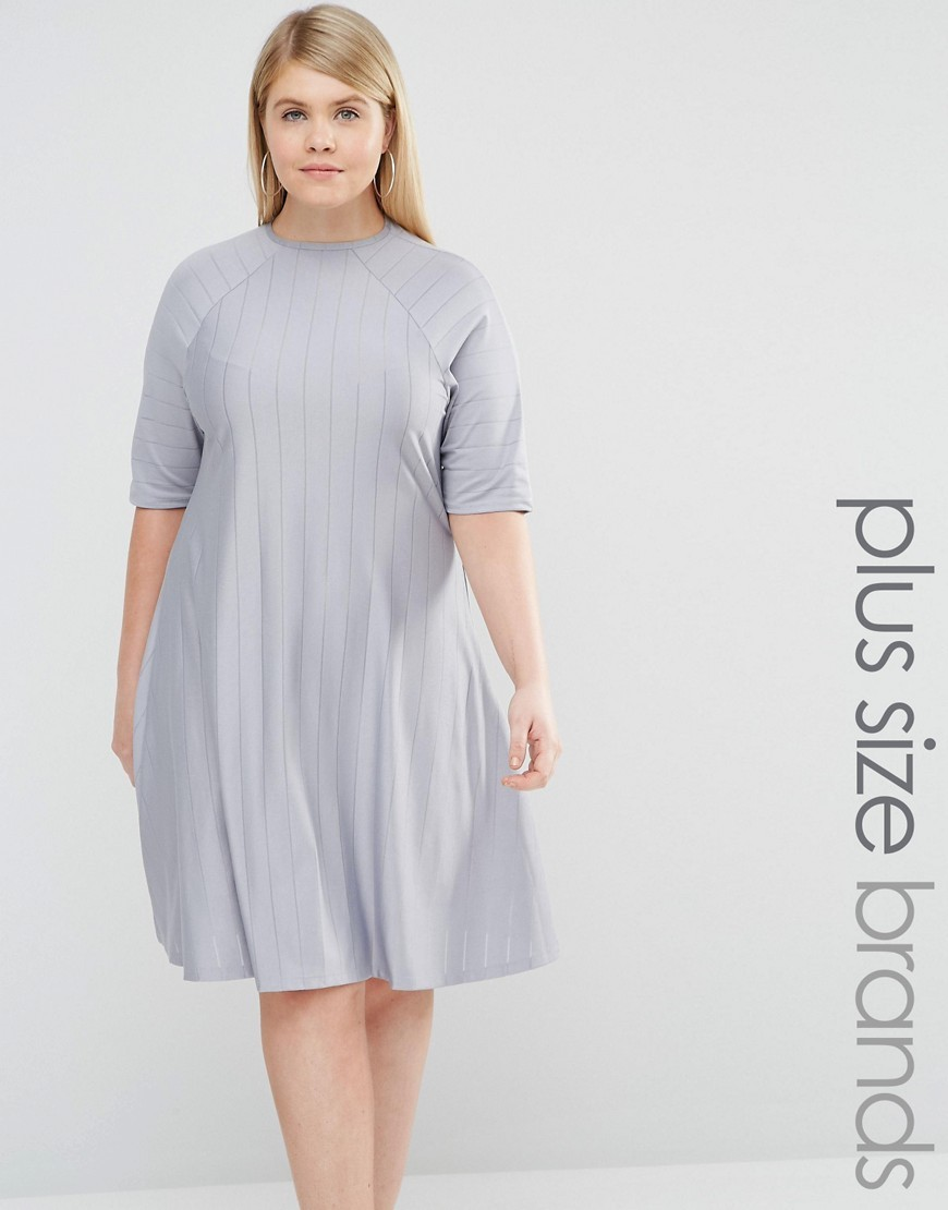 Funnel Neck Swing Dress Blue - style: trapeze; fit: loose; pattern: plain; predominant colour: light grey; occasions: casual; length: on the knee; fibres: polyester/polyamide - stretch; neckline: crew; sleeve length: half sleeve; sleeve style: standard; pattern type: fabric; texture group: jersey - stretchy/drapey; season: s/s 2016; wardrobe: basic