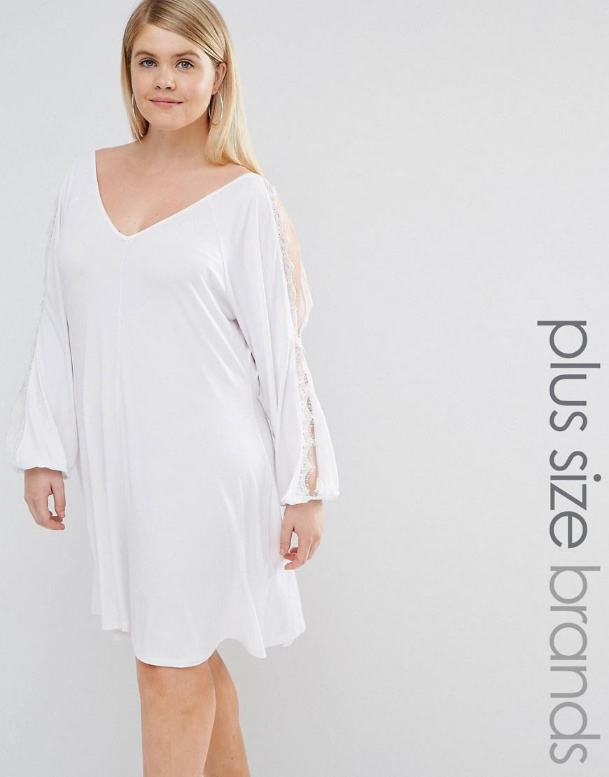 Split Sleeve Swing Dress With Lace Trim White - style: trapeze; neckline: v-neck; fit: loose; pattern: plain; predominant colour: white; occasions: evening; length: on the knee; fibres: polyester/polyamide - stretch; sleeve length: long sleeve; sleeve style: standard; pattern type: fabric; texture group: jersey - stretchy/drapey; embellishment: lace; season: s/s 2016; wardrobe: event; embellishment location: sleeve/cuff
