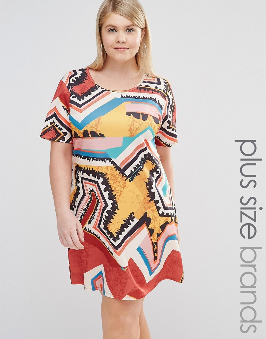 Printed Shift Dress Multi - style: shift; neckline: round neck; predominant colour: true red; secondary colour: yellow; occasions: casual; length: just above the knee; fit: body skimming; fibres: polyester/polyamide - stretch; sleeve length: short sleeve; sleeve style: standard; pattern type: fabric; pattern size: big & busy; pattern: patterned/print; texture group: jersey - stretchy/drapey; multicoloured: multicoloured; season: s/s 2016; wardrobe: highlight