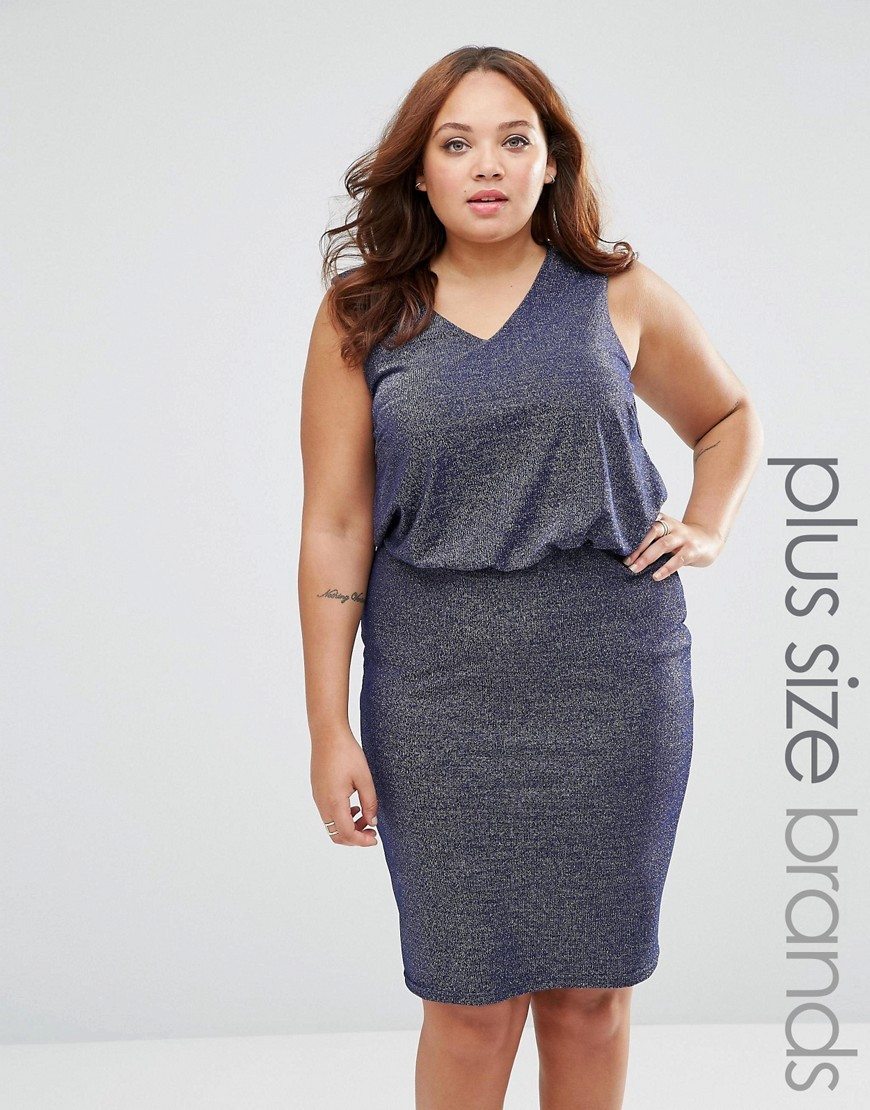 Plus Hyde Dress In Glitter Fabric Dark Blue - style: shift; neckline: v-neck; pattern: plain; sleeve style: sleeveless; predominant colour: navy; occasions: evening; length: on the knee; fit: body skimming; fibres: cotton - mix; sleeve length: sleeveless; texture group: jersey - clingy; pattern type: fabric; season: s/s 2016; wardrobe: event