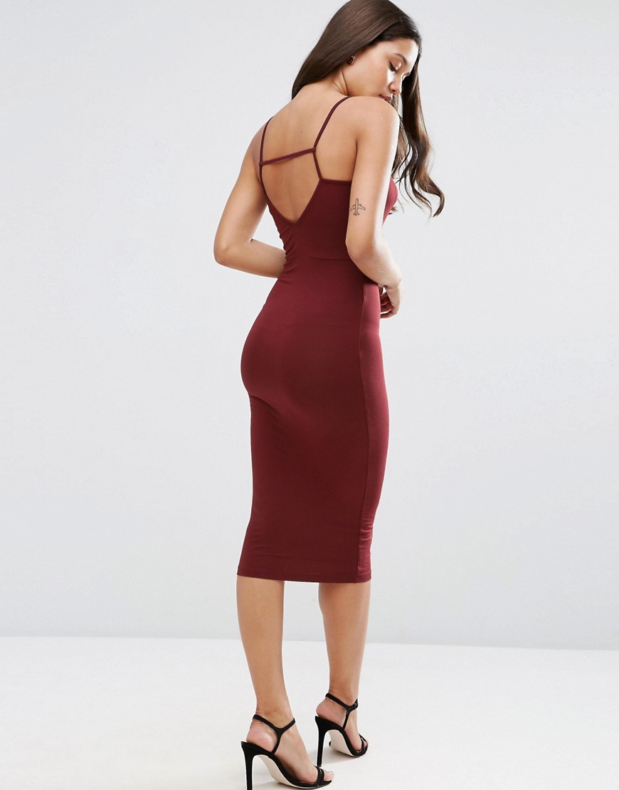 Strappy Back Wrap Front Midi Bodycon Dress Burgundy - length: below the knee; neckline: low v-neck; fit: tight; pattern: plain; sleeve style: sleeveless; style: bodycon; predominant colour: burgundy; occasions: evening; fibres: viscose/rayon - stretch; sleeve length: sleeveless; texture group: jersey - clingy; pattern type: fabric; season: s/s 2016; wardrobe: event