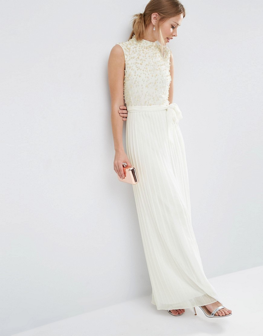 Pearl Bodice Maxi Dress Cream - pattern: plain; sleeve style: sleeveless; style: maxi dress; neckline: high neck; waist detail: belted waist/tie at waist/drawstring; predominant colour: ivory/cream; occasions: evening; length: floor length; fit: body skimming; fibres: polyester/polyamide - 100%; sleeve length: sleeveless; pattern type: fabric; texture group: woven light midweight; embellishment: pearls; season: s/s 2016; wardrobe: event