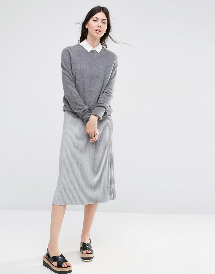 Pleated Midi Skirt In Jersey Grey - length: below the knee; pattern: plain; fit: body skimming; style: pleated; waist: mid/regular rise; predominant colour: light grey; occasions: casual; fibres: polyester/polyamide - 100%; pattern type: fabric; texture group: jersey - stretchy/drapey; season: s/s 2016; wardrobe: basic