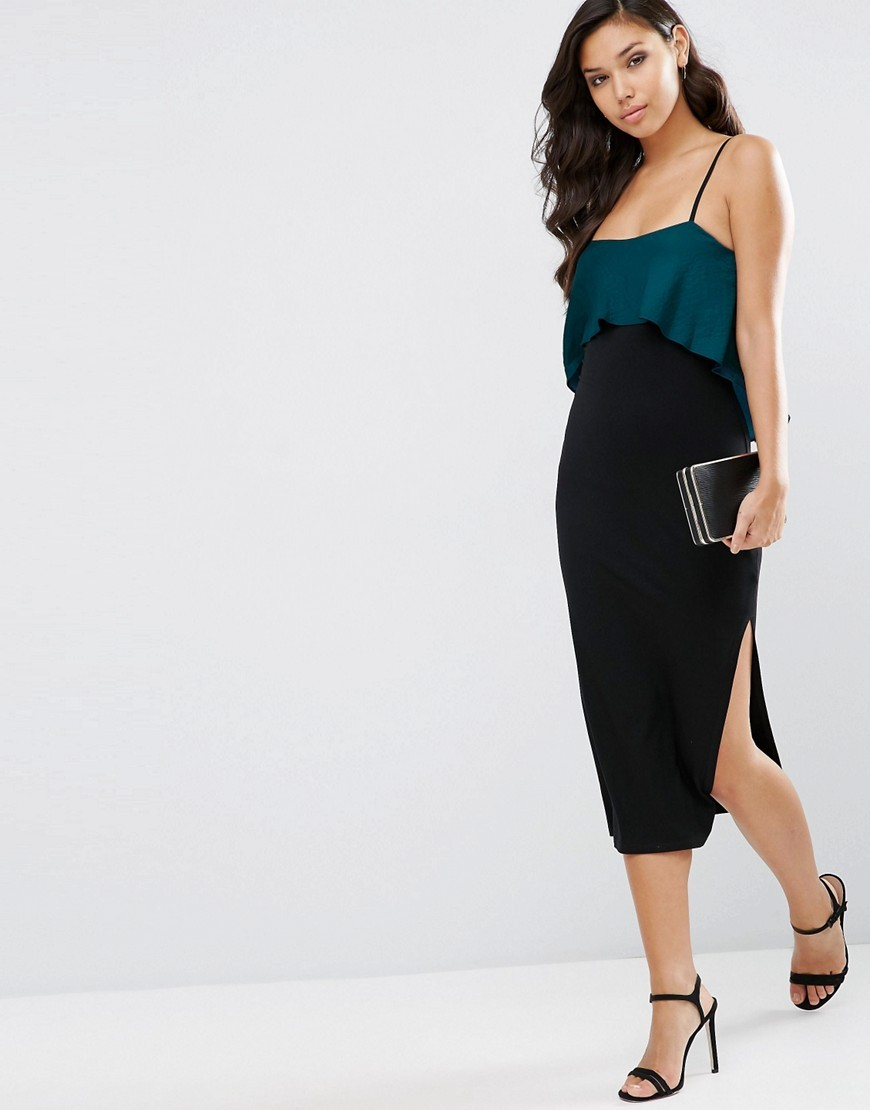 Satin Mix Bodycon Midi Cami Dress Forest Green - length: below the knee; sleeve style: spaghetti straps; fit: tight; pattern: plain; style: bodycon; bust detail: ruching/gathering/draping/layers/pintuck pleats at bust; secondary colour: teal; predominant colour: black; occasions: evening; neckline: scoop; fibres: viscose/rayon - stretch; sleeve length: sleeveless; texture group: jersey - clingy; pattern type: fabric; multicoloured: multicoloured; season: s/s 2016; wardrobe: event