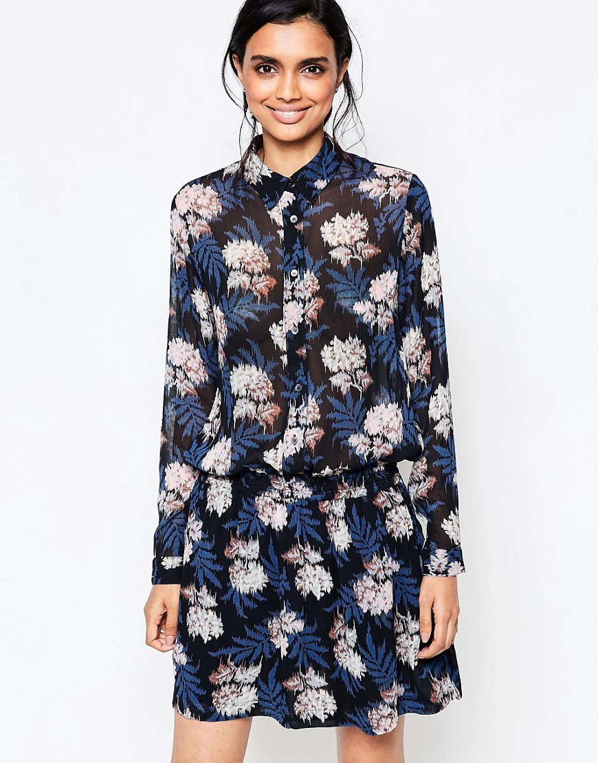 Park Row Georgette Floral Shirt Dress With Elastic Waist Autumn Flower - style: shirt; neckline: shirt collar/peter pan/zip with opening; waist detail: belted waist/tie at waist/drawstring; predominant colour: navy; secondary colour: black; occasions: casual; length: just above the knee; fit: body skimming; fibres: viscose/rayon - 100%; sleeve length: long sleeve; sleeve style: standard; pattern type: fabric; pattern size: big & busy; pattern: florals; texture group: other - light to midweight; multicoloured: multicoloured; season: s/s 2016; trends: vivid mix; wardrobe: highlight