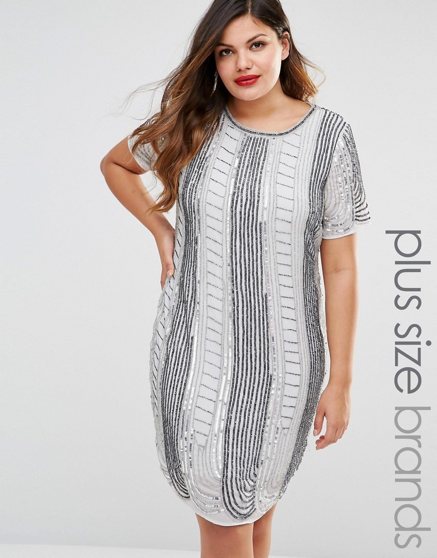 All Over Embellished Shift Dress Grey - style: shift; pattern: vertical stripes; predominant colour: white; secondary colour: mid grey; occasions: casual; length: on the knee; fit: body skimming; fibres: polyester/polyamide - 100%; neckline: crew; sleeve length: short sleeve; sleeve style: standard; pattern type: fabric; texture group: jersey - stretchy/drapey; multicoloured: multicoloured; season: s/s 2016; wardrobe: highlight