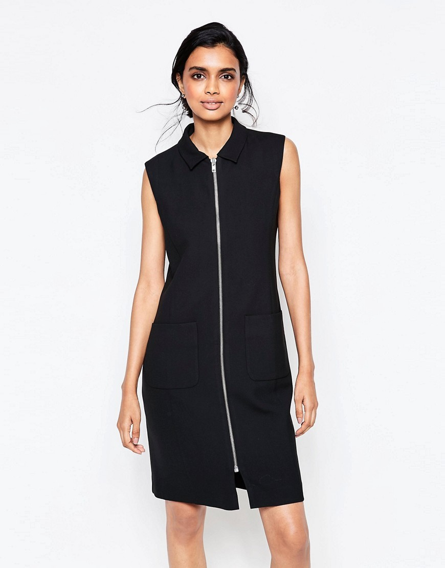 Moscow Tailor Zip Through Dress In Black Black - style: shift; pattern: plain; sleeve style: sleeveless; neckline: high neck; predominant colour: black; occasions: evening; length: just above the knee; fit: body skimming; fibres: polyester/polyamide - mix; sleeve length: sleeveless; pattern type: fabric; texture group: jersey - stretchy/drapey; season: s/s 2016