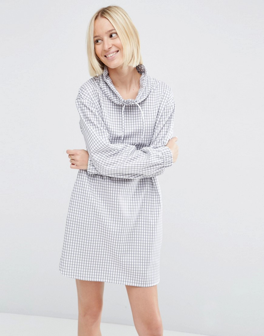 Funnel Neck Grid Print Tunic Dress Grey/Ecru - style: shift; neckline: wide roll/funnel neck; pattern: striped; secondary colour: white; predominant colour: pale blue; occasions: casual; length: just above the knee; fit: body skimming; fibres: cotton - 100%; sleeve length: long sleeve; sleeve style: standard; pattern type: fabric; pattern size: light/subtle; texture group: jersey - stretchy/drapey; season: s/s 2016; wardrobe: highlight