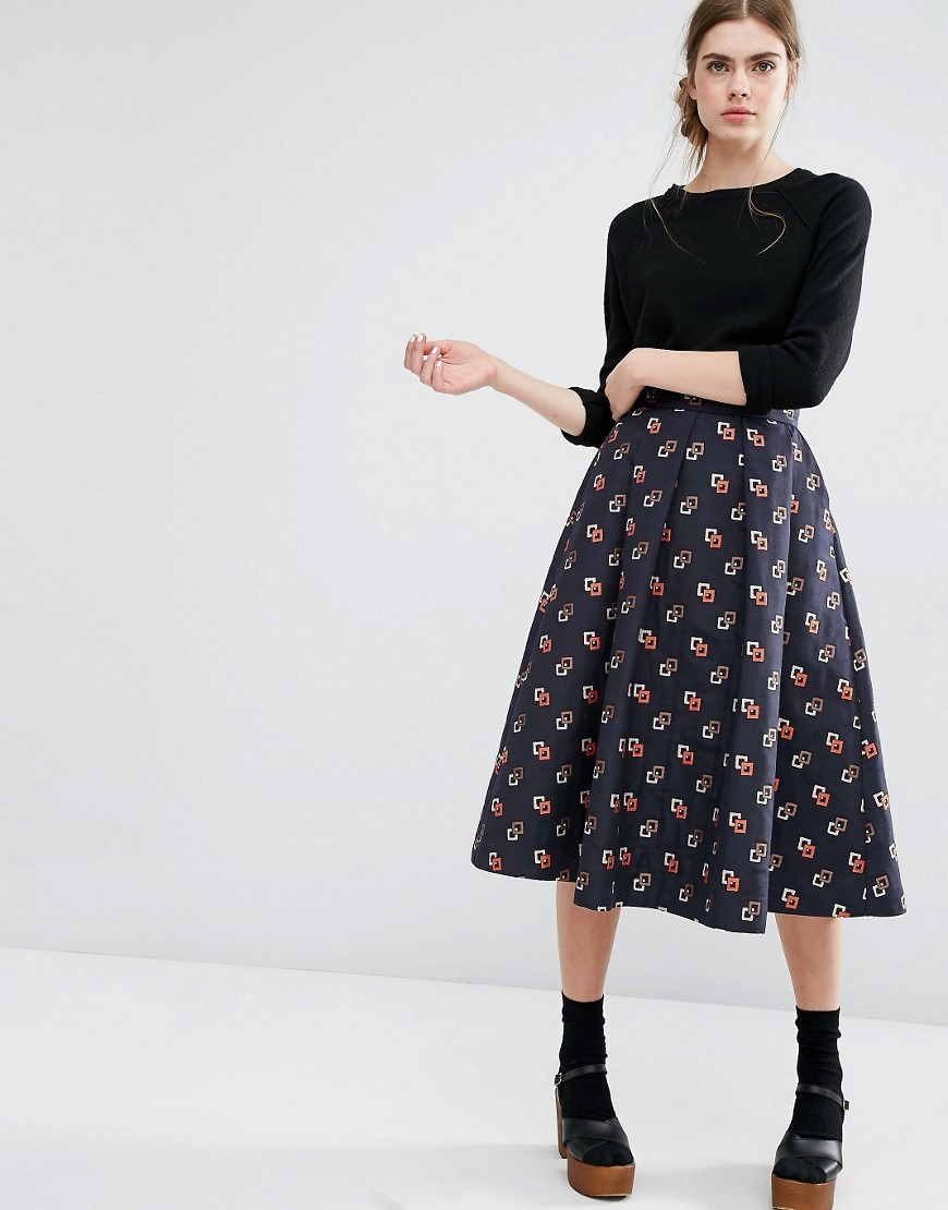 Sashenka Full Midi Skirt Blue Box - length: calf length; style: full/prom skirt; fit: loose/voluminous; waist: mid/regular rise; predominant colour: navy; secondary colour: bright orange; fibres: polyester/polyamide - 100%; occasions: occasion; pattern type: fabric; pattern: patterned/print; texture group: woven light midweight; pattern size: standard (bottom); season: s/s 2016