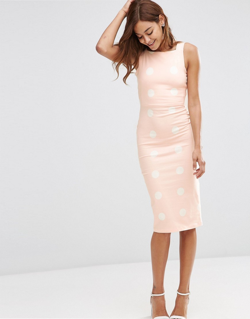 Spot Pinny Bodycon Midi Dress Nude / White - length: below the knee; neckline: high square neck; fit: tight; sleeve style: sleeveless; style: bodycon; pattern: polka dot; secondary colour: white; predominant colour: blush; occasions: evening; fibres: cotton - stretch; sleeve length: sleeveless; texture group: jersey - clingy; pattern type: fabric; multicoloured: multicoloured; season: s/s 2016