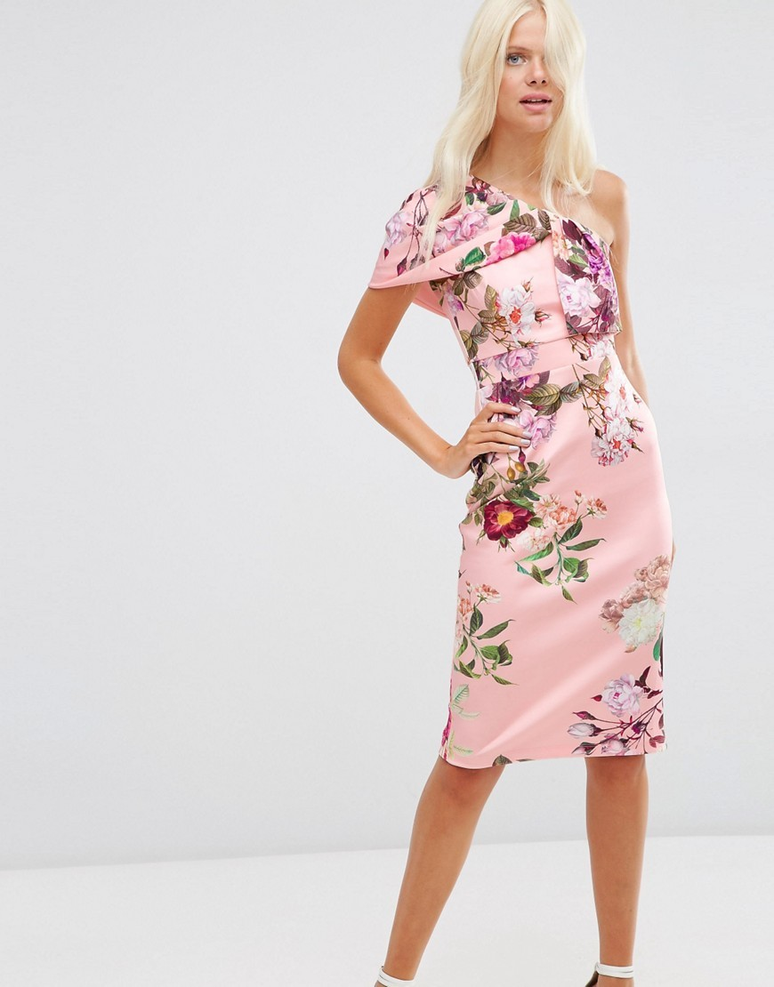 One Shoulder Fold Midi Scuba Dress In Floral Print Print - style: shift; fit: tailored/fitted; sleeve style: asymmetric sleeve; neckline: asymmetric; hip detail: draws attention to hips; predominant colour: blush; secondary colour: aubergine; occasions: evening, occasion; length: on the knee; fibres: polyester/polyamide - 100%; sleeve length: short sleeve; pattern type: fabric; pattern size: standard; pattern: florals; texture group: woven light midweight; multicoloured: multicoloured; season: s/s 2016; wardrobe: event