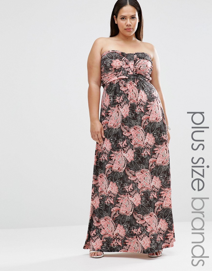 Plus Maxi Bandeau Dress In Paisley Print Multi - neckline: strapless (straight/sweetheart); style: maxi dress; sleeve style: strapless; secondary colour: pink; predominant colour: charcoal; occasions: casual; length: floor length; fit: body skimming; fibres: polyester/polyamide - stretch; sleeve length: sleeveless; pattern type: fabric; pattern size: big & busy; pattern: florals; texture group: jersey - stretchy/drapey; multicoloured: multicoloured; season: s/s 2016; wardrobe: highlight
