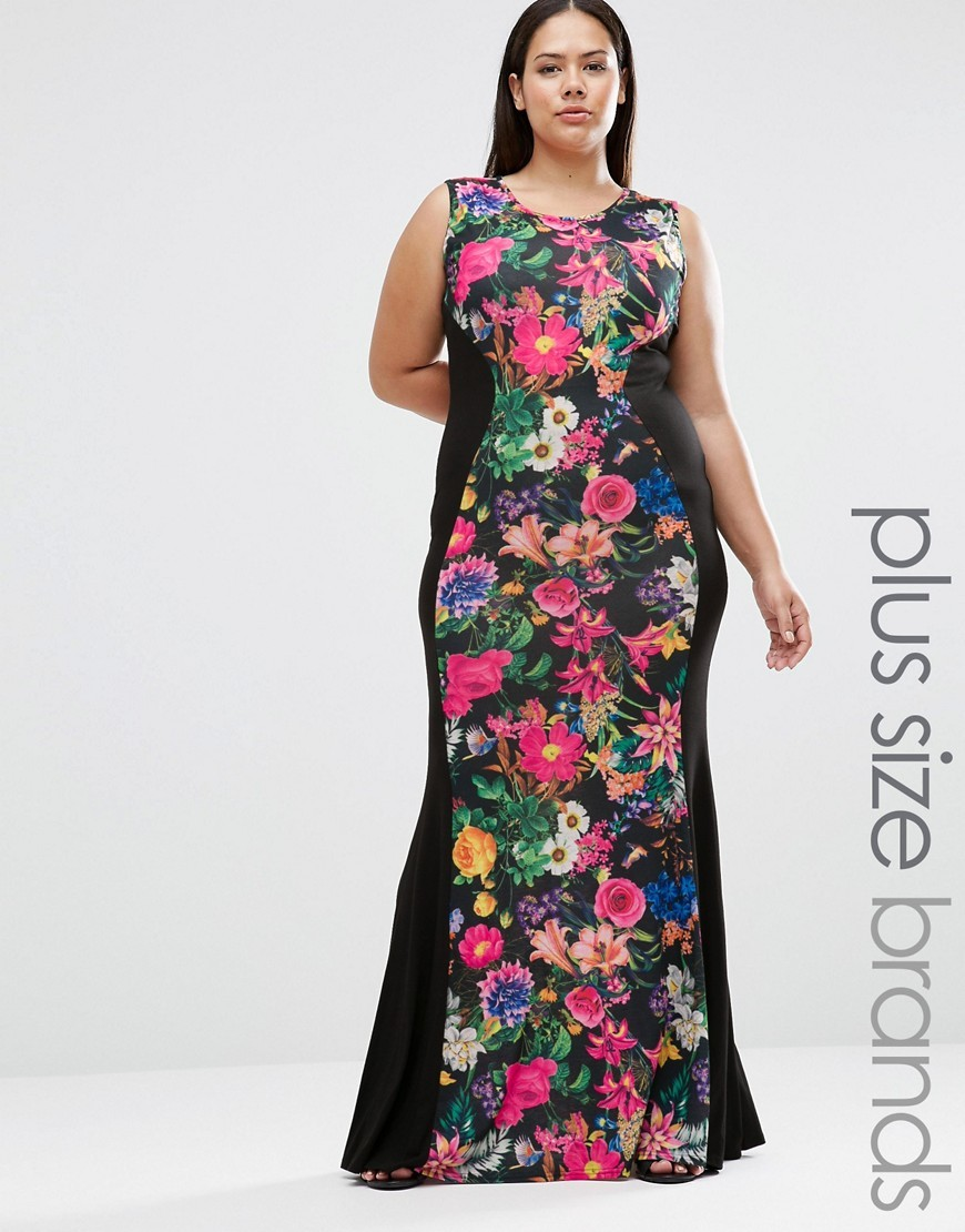 Plus Illusion Maxi Dress In Tropical Print Black/Tropical - sleeve style: sleeveless; style: maxi dress; secondary colour: hot pink; predominant colour: black; occasions: evening; length: floor length; fit: body skimming; fibres: viscose/rayon - stretch; neckline: crew; sleeve length: sleeveless; pattern type: fabric; pattern size: big & busy; pattern: florals; texture group: jersey - stretchy/drapey; multicoloured: multicoloured; season: s/s 2016; wardrobe: event