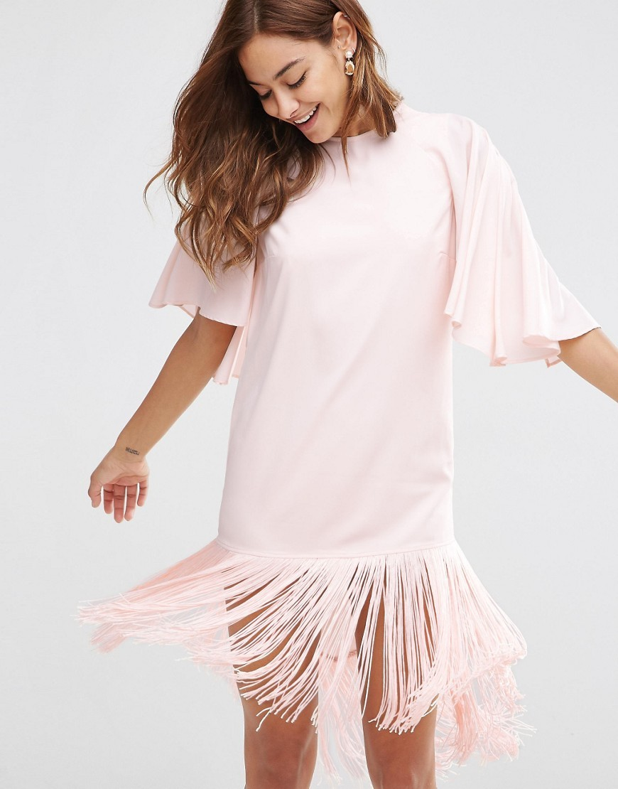 Flutter Sleeve Mini T Shirt Dress With Fringe Hem Nude - style: shift; length: mini; pattern: plain; predominant colour: blush; occasions: evening; fit: body skimming; fibres: polyester/polyamide - 100%; neckline: crew; sleeve length: half sleeve; sleeve style: standard; pattern type: fabric; texture group: jersey - stretchy/drapey; embellishment: fringing; season: s/s 2016
