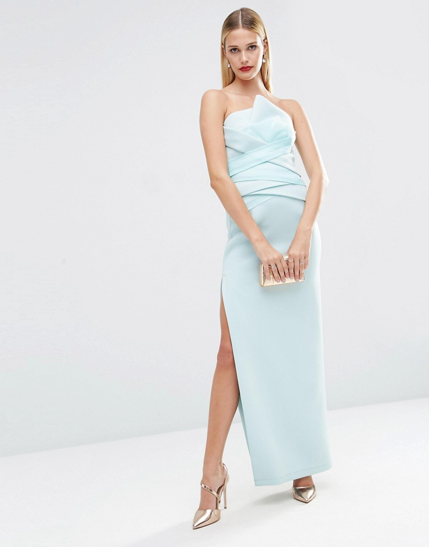 Red Carpet Premium Organza Fold Bonded Scuba Bandeau Pencil Maxi Dress Mint - neckline: strapless (straight/sweetheart); pattern: plain; style: maxi dress; sleeve style: strapless; length: ankle length; predominant colour: pale blue; occasions: evening; fit: body skimming; fibres: polyester/polyamide - stretch; hip detail: slits at hip; sleeve length: sleeveless; texture group: structured shiny - satin/tafetta/silk etc.; pattern type: fabric; season: s/s 2016