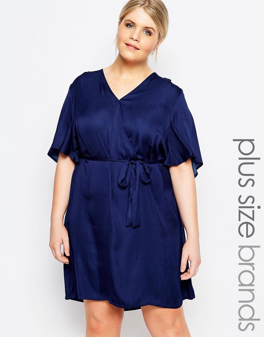 Wrap Dress Navy - style: faux wrap/wrap; neckline: v-neck; pattern: plain; waist detail: belted waist/tie at waist/drawstring; predominant colour: navy; occasions: evening; length: just above the knee; fit: body skimming; fibres: polyester/polyamide - 100%; sleeve length: half sleeve; sleeve style: standard; texture group: silky - light; pattern type: fabric; season: s/s 2016; wardrobe: event