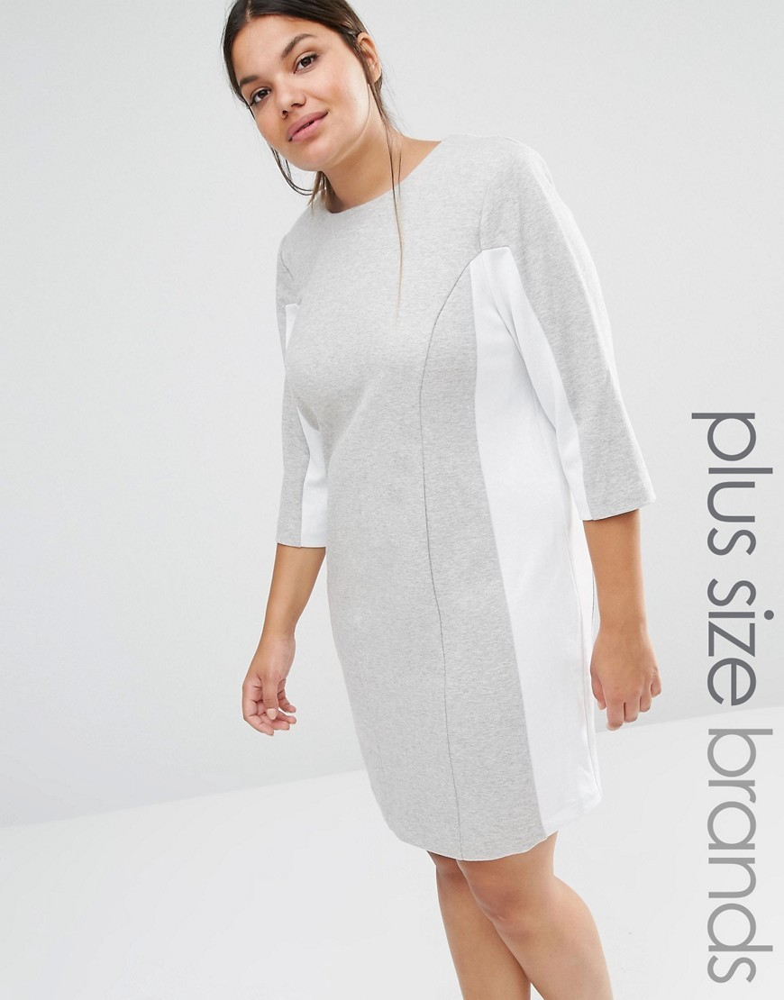 Shift Dress With Contrast Panels Grey - style: shift; pattern: plain; secondary colour: white; predominant colour: light grey; occasions: casual; length: just above the knee; fit: body skimming; fibres: cotton - mix; neckline: crew; sleeve length: 3/4 length; sleeve style: standard; pattern type: fabric; texture group: other - light to midweight; multicoloured: multicoloured; season: s/s 2016; wardrobe: basic