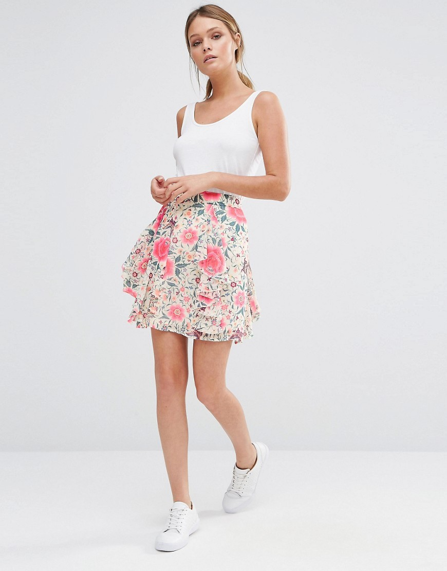 Printed Frill Mini Skirt Multi - length: mid thigh; fit: loose/voluminous; waist: high rise; predominant colour: ivory/cream; secondary colour: hot pink; occasions: casual; style: a-line; fibres: polyester/polyamide - 100%; hip detail: subtle/flattering hip detail; texture group: sheer fabrics/chiffon/organza etc.; pattern type: fabric; pattern: florals; pattern size: standard (bottom); multicoloured: multicoloured; season: s/s 2016; wardrobe: highlight