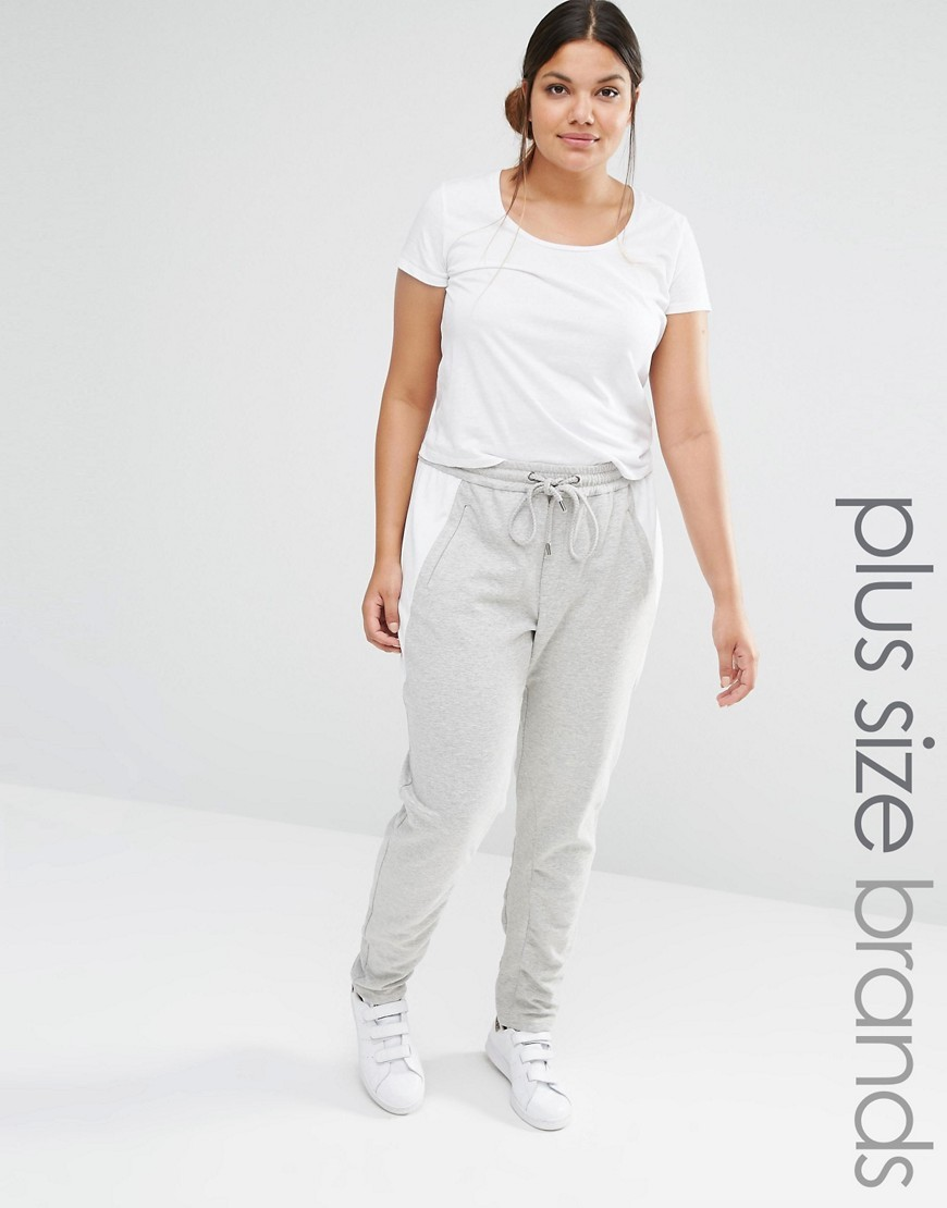 Relaxed Lounge Pants Grey - length: standard; pattern: plain; style: tracksuit pants; waist: mid/regular rise; secondary colour: white; predominant colour: light grey; occasions: casual; fibres: polyester/polyamide - stretch; fit: slim leg; pattern type: fabric; texture group: jersey - stretchy/drapey; season: s/s 2016
