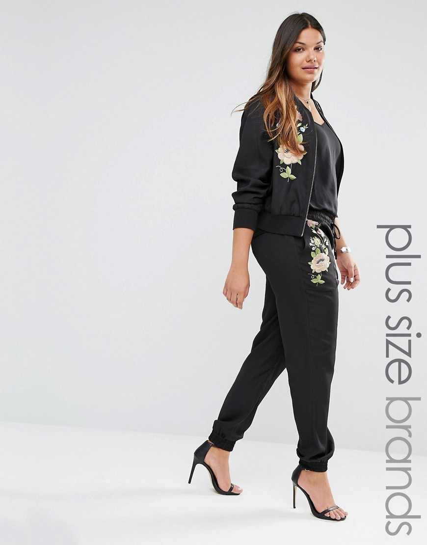 Floral Embroidered Jogger Black - length: standard; pattern: plain; style: tracksuit pants; waist detail: belted waist/tie at waist/drawstring; waist: mid/regular rise; secondary colour: blush; predominant colour: black; occasions: casual; fibres: polyester/polyamide - 100%; texture group: silky - light; fit: baggy; pattern type: fabric; embellishment: embroidered; season: s/s 2016; wardrobe: highlight; embellishment location: hip