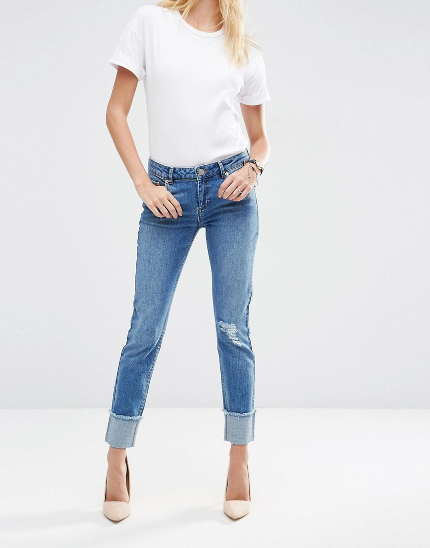 Kimmi Shrunken Boyfriend Jeans In Rio Wash With Deep Turn Ups Midwash Blue - style: skinny leg; length: standard; pattern: plain; pocket detail: traditional 5 pocket; waist: mid/regular rise; predominant colour: denim; occasions: casual; fibres: cotton - stretch; jeans detail: shading down centre of thigh; jeans & bottoms detail: turn ups; texture group: denim; pattern type: fabric; season: s/s 2016; wardrobe: basic