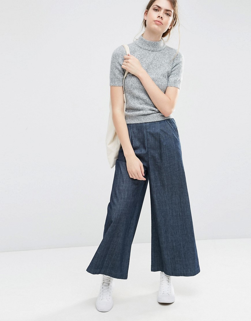Textured Denim Wide Leg Trousers Darkwash Blue - pattern: plain; style: palazzo; waist: high rise; predominant colour: navy; occasions: casual; length: ankle length; fibres: cotton - stretch; texture group: denim; fit: wide leg; pattern type: fabric; season: s/s 2016; wardrobe: basic