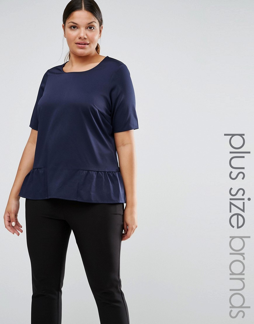 Peplum Hem Woven Top Navy - pattern: plain; style: t-shirt; predominant colour: navy; occasions: casual; length: standard; fibres: polyester/polyamide - stretch; fit: body skimming; neckline: crew; sleeve length: short sleeve; sleeve style: standard; hip detail: ruffles/tiers/tie detail at hip; pattern type: fabric; texture group: jersey - stretchy/drapey; season: s/s 2016; wardrobe: highlight