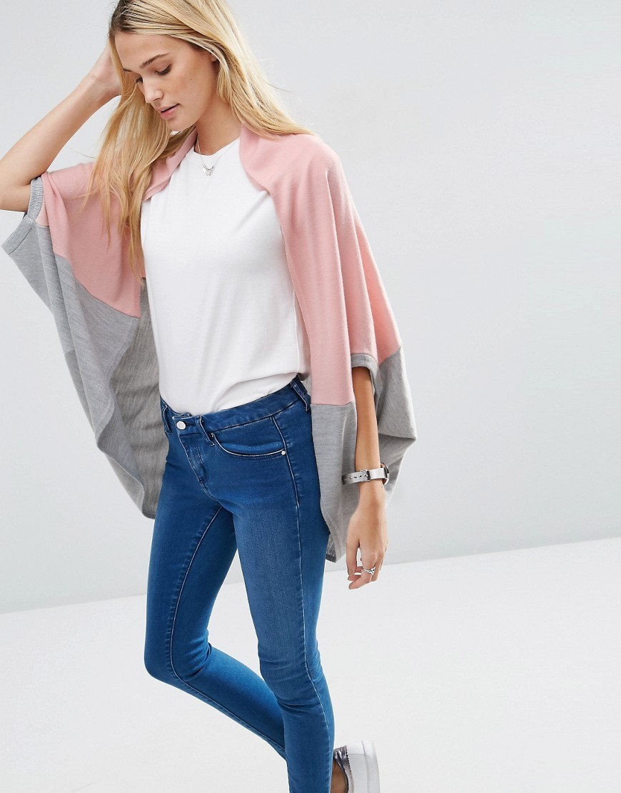 Chuck On Cardigan In Blocking Multi - sleeve style: dolman/batwing; neckline: collarless open; style: open front; predominant colour: pink; secondary colour: light grey; occasions: casual, creative work; fibres: acrylic - 100%; fit: loose; length: mid thigh; sleeve length: 3/4 length; texture group: knits/crochet; pattern type: knitted - fine stitch; pattern size: standard; pattern: colourblock; multicoloured: multicoloured; season: s/s 2016; wardrobe: highlight