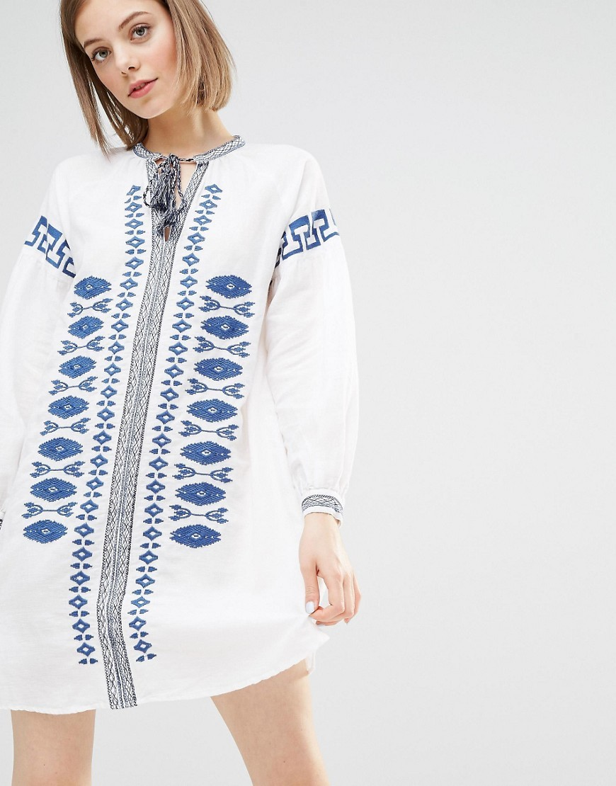 Embroidered Smock Dress Blue & White - pattern: plain; style: tunic; predominant colour: white; secondary colour: royal blue; occasions: casual, holiday; neckline: peep hole neckline; fibres: linen - mix; fit: body skimming; length: mid thigh; sleeve length: long sleeve; sleeve style: standard; texture group: cotton feel fabrics; pattern type: fabric; embellishment: embroidered; season: s/s 2016; wardrobe: highlight