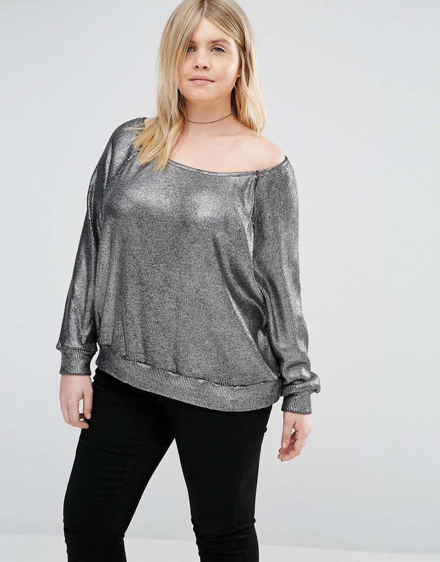 Off The Shoulder Jumper In Metallic Knit Silver - neckline: off the shoulder; pattern: plain; style: standard; predominant colour: silver; occasions: casual, creative work; length: standard; fibres: polyester/polyamide - 100%; fit: standard fit; sleeve length: long sleeve; sleeve style: standard; texture group: knits/crochet; pattern type: knitted - other; season: s/s 2016; wardrobe: highlight
