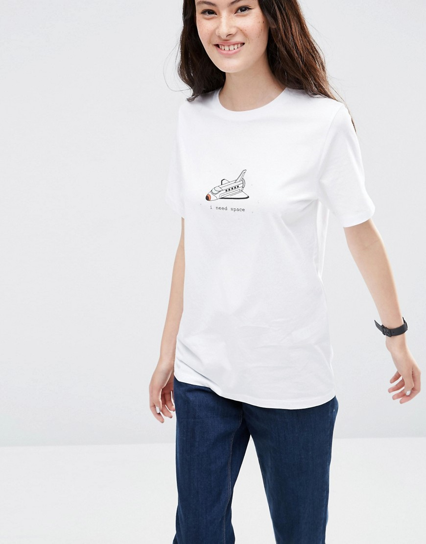 T Shirt With Give Me Some Space Print White - pattern: plain; style: t-shirt; predominant colour: white; occasions: casual; length: standard; fibres: cotton - 100%; fit: body skimming; neckline: crew; sleeve length: half sleeve; sleeve style: standard; pattern type: fabric; texture group: jersey - stretchy/drapey; season: s/s 2016; wardrobe: basic